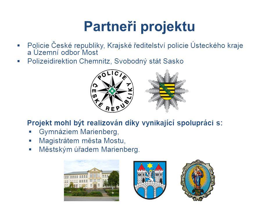 Partneři projektu Policie České republiky, Krajské ředitelství policie Ústeckého kraje a Územní odbor Most.