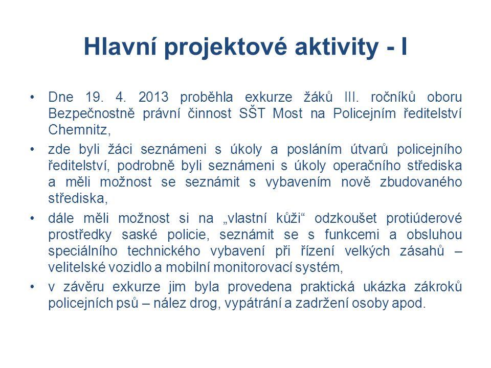 Hlavní projektové aktivity - I