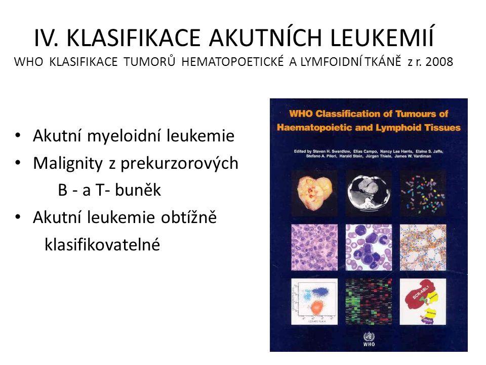 IV. KLASIFIKACE AKUTNÍCH LEUKEMIÍ WHO KLASIFIKACE TUMORŮ HEMATOPOETICKÉ A LYMFOIDNÍ TKÁNĚ z r. 2008