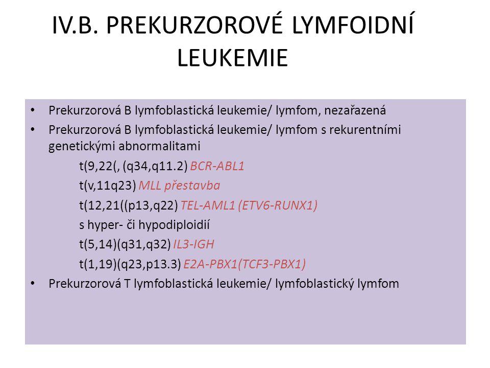 IV.B. PREKURZOROVÉ LYMFOIDNÍ LEUKEMIE