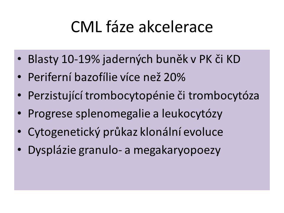 CML fáze akcelerace Blasty 10-19% jaderných buněk v PK či KD