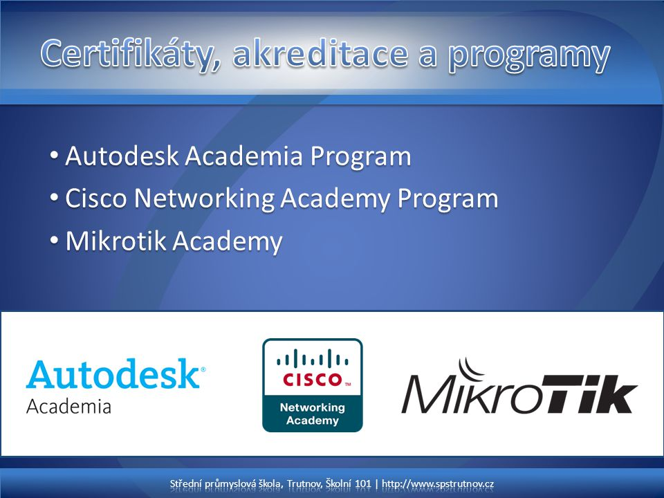 Certifikáty, akreditace a programy