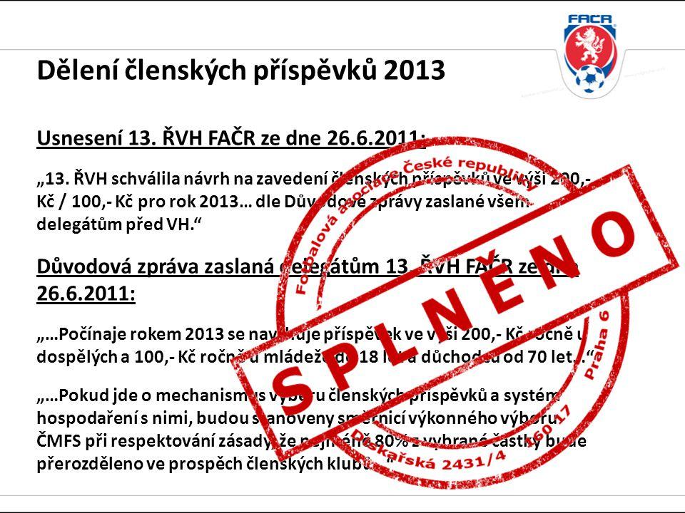 Dělení členských příspěvků 2013 Usnesení 13. ŘVH FAČR ze dne 26. 6