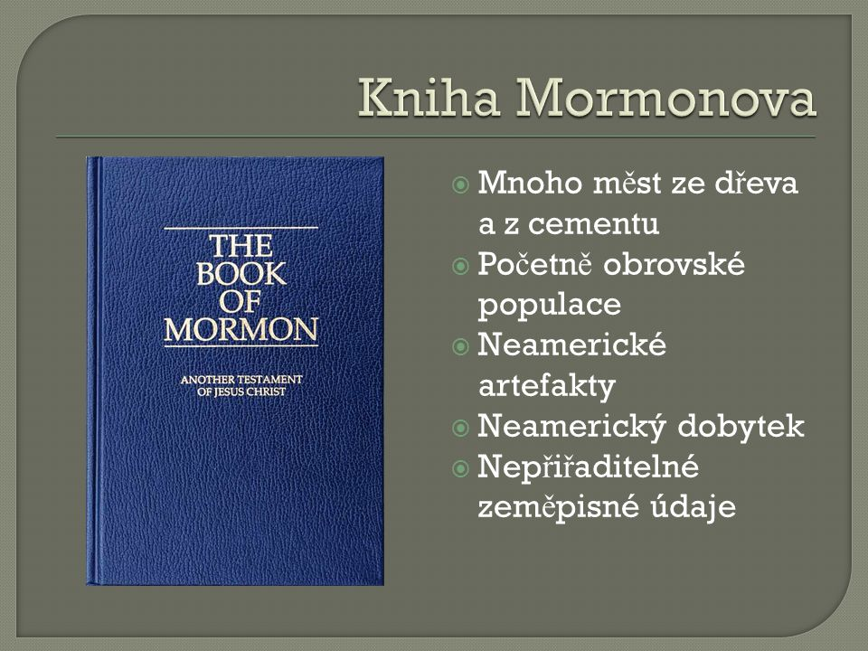 Kniha Mormonova Mnoho měst ze dřeva a z cementu