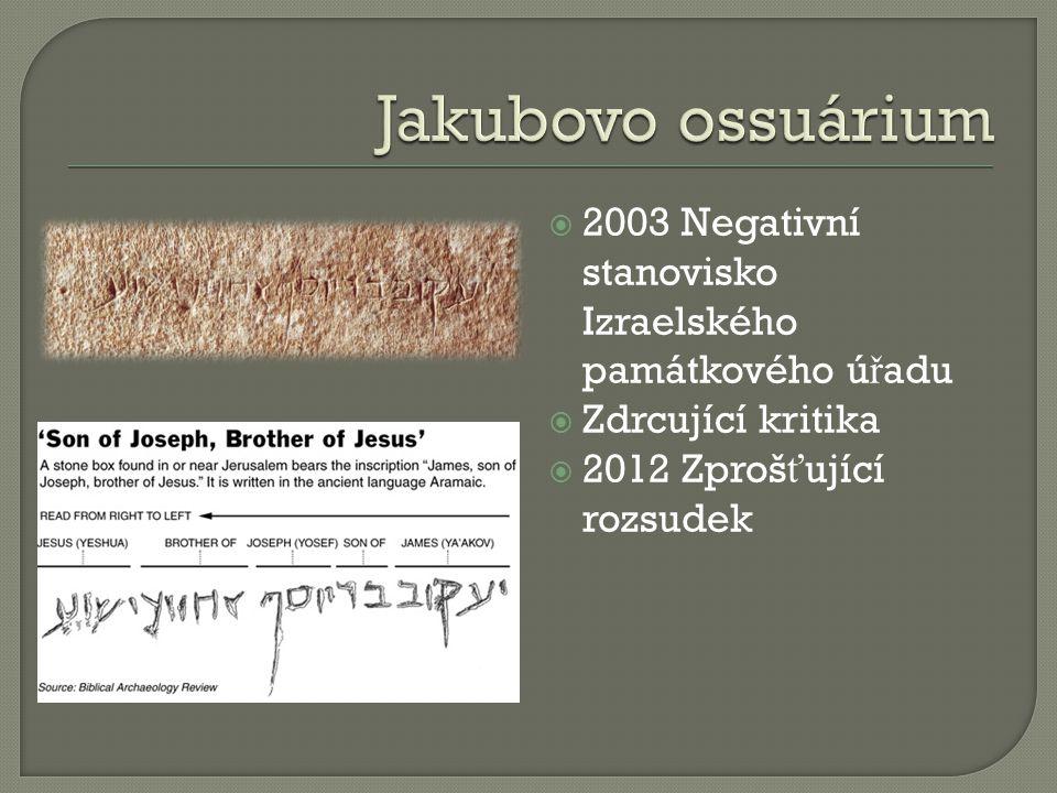 Jakubovo ossuárium 2003 Negativní stanovisko Izraelského památkového úřadu.