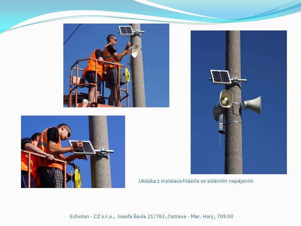 Ukázka z instalace hlásiče se solárním napájením