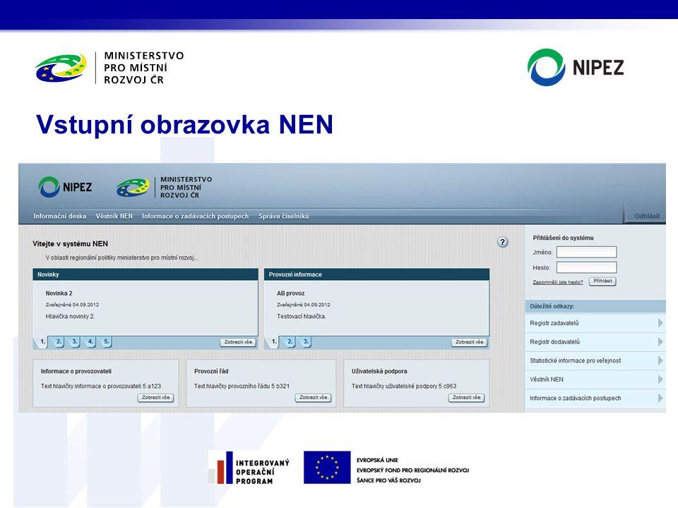 Vstupní obrazovka NEN