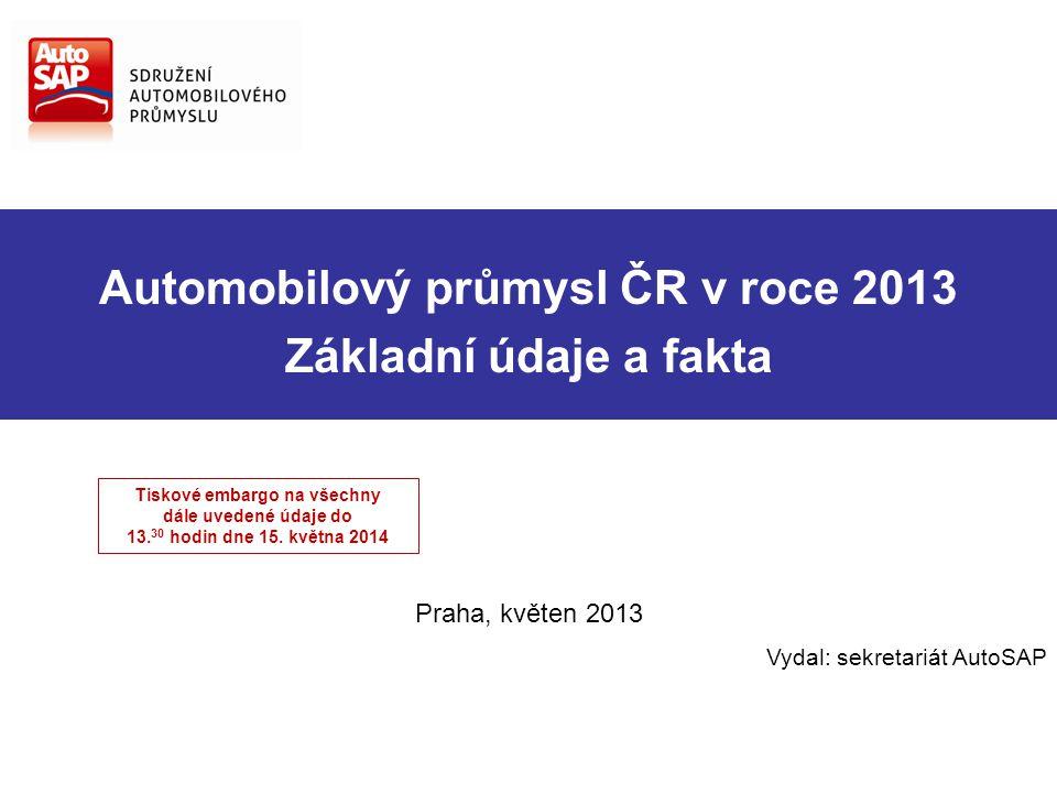 Automobilový průmysl ČR v roce 2013 Základní údaje a fakta