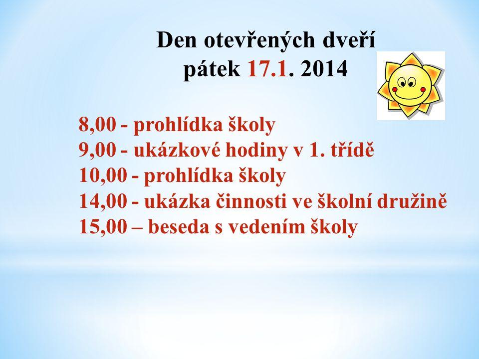 Den otevřených dveří pátek 17.1. 2014