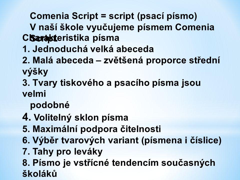 4. Volitelný sklon písma Comenia Script = script (psací písmo)