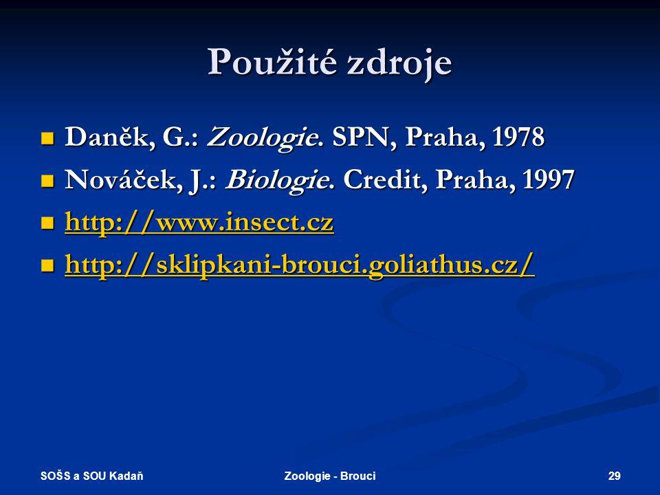 Použité zdroje Daněk, G.: Zoologie. SPN, Praha, 1978