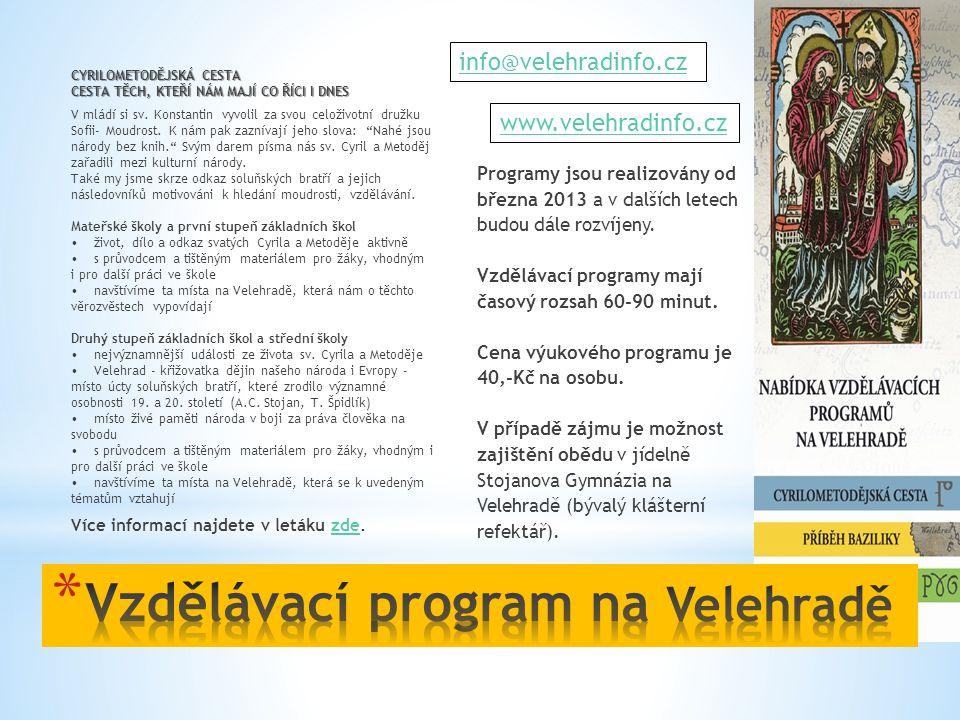 Vzdělávací program na Velehradě