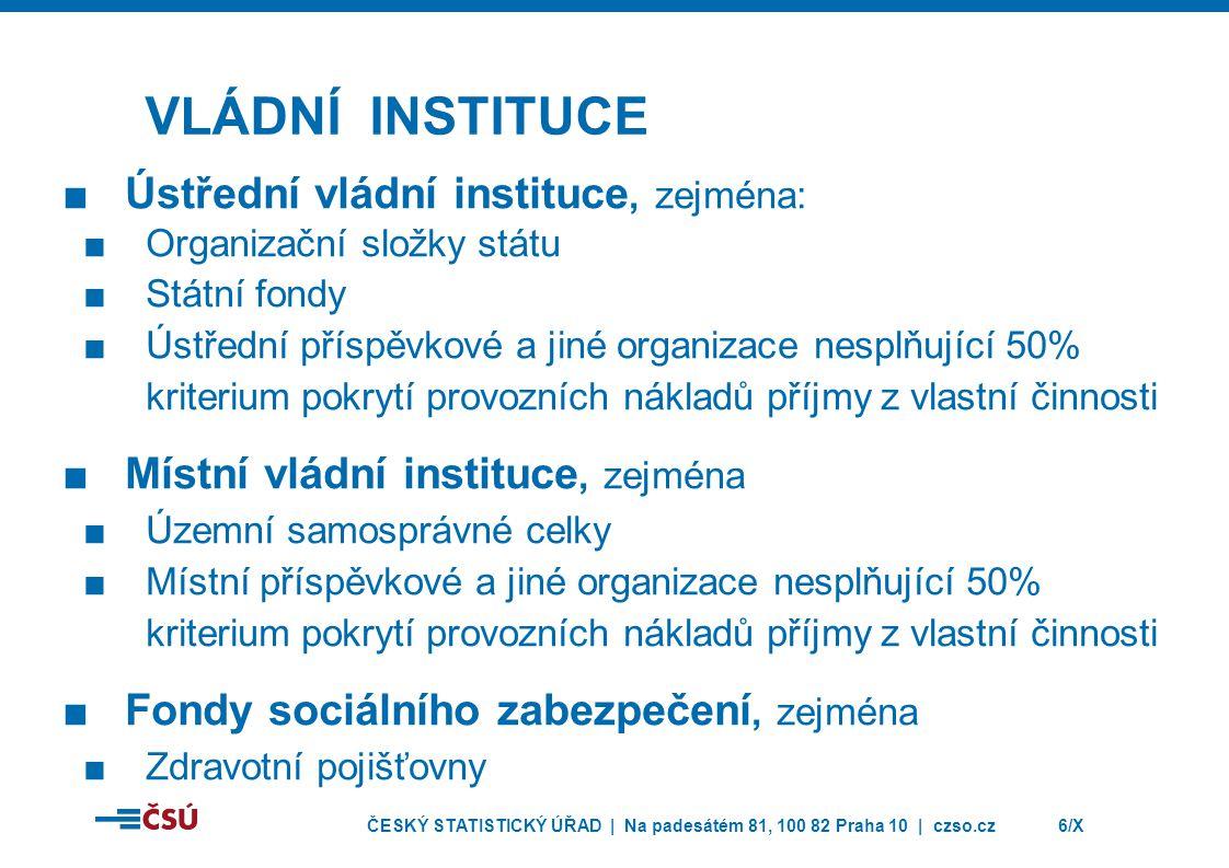 VLÁDNÍ INSTITUCE Ústřední vládní instituce, zejména: