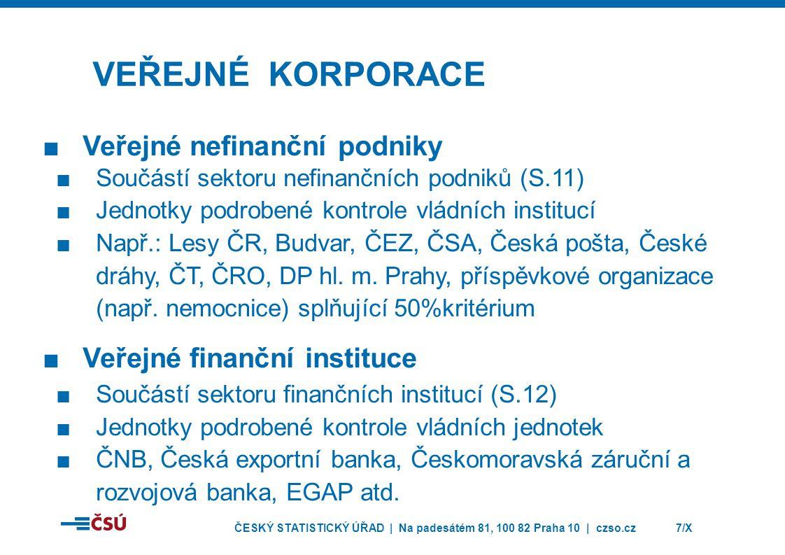 Veřejné korporace Veřejné nefinanční podniky