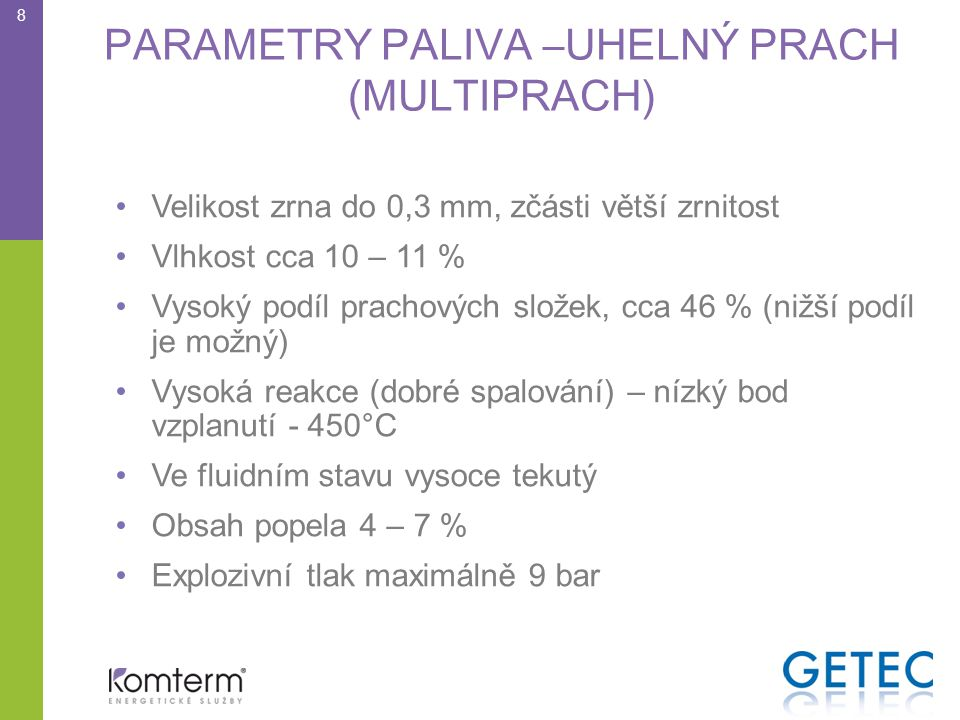 PARAMETRY PALIVA –UHELNÝ PRACH (MULTIPRACH)