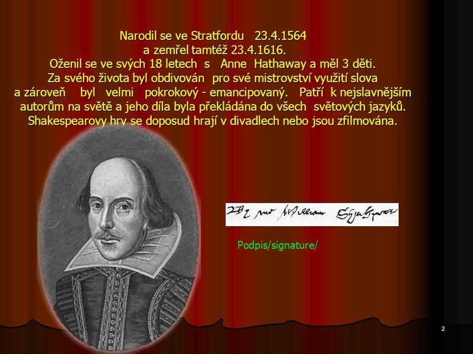 Narodil se ve Stratfordu 23. 4. 1564 a zemřel tamtéž 23. 4. 1616