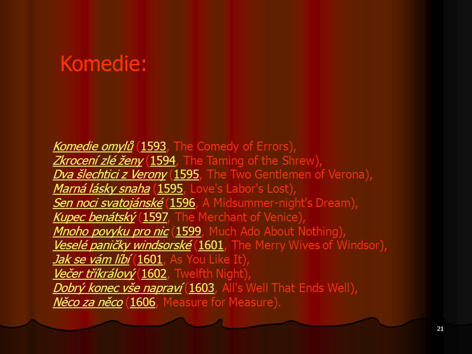 Komedie: Komedie omylů (1593, The Comedy of Errors),