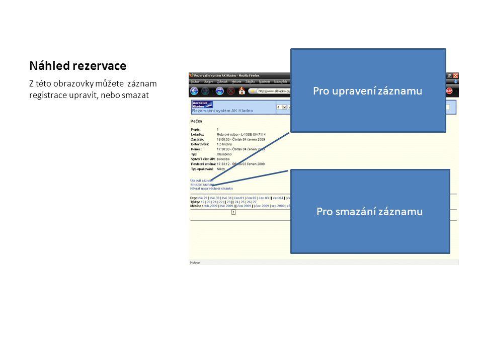Náhled rezervace Pro upravení záznamu Pro smazání záznamu