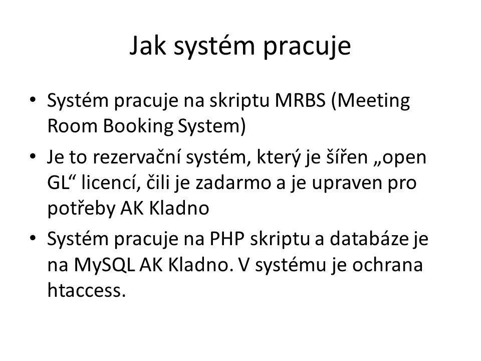 Jak systém pracuje Systém pracuje na skriptu MRBS (Meeting Room Booking System)