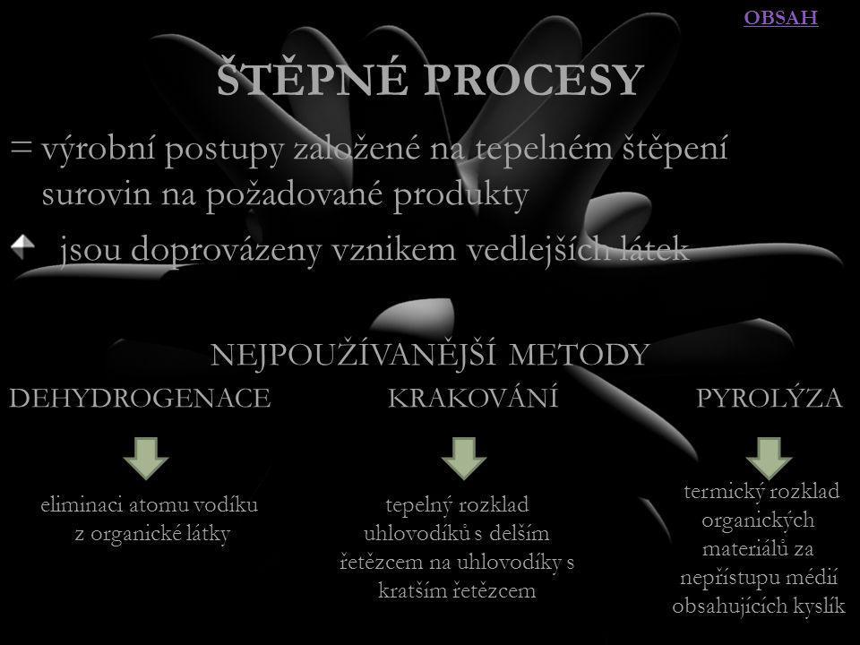 OBSAH ŠTĚPNÉ PROCESY. = výrobní postupy založené na tepelném štěpení surovin na požadované produkty.