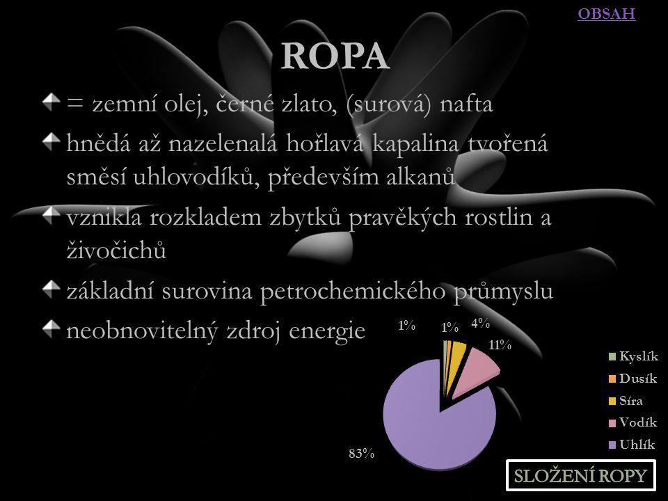 ROPA = zemní olej, černé zlato, (surová) nafta