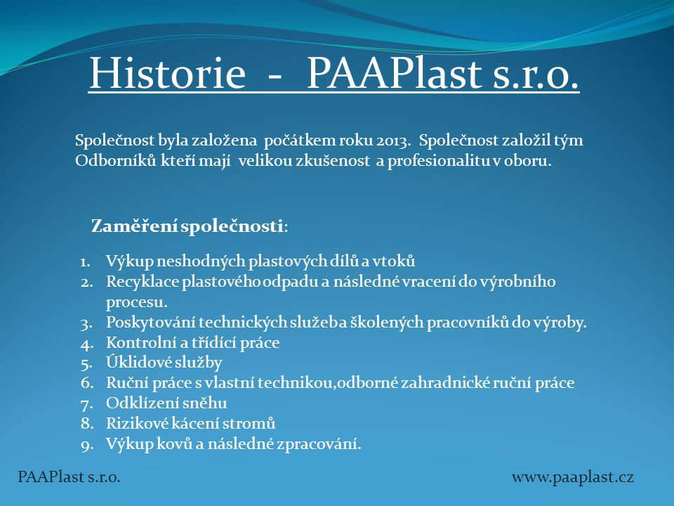 Historie - PAAPlast s.r.o.