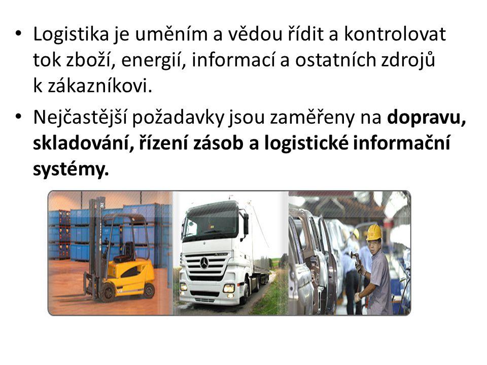 Logistika je uměním a vědou řídit a kontrolovat tok zboží, energií, informací a ostatních zdrojů k zákazníkovi.