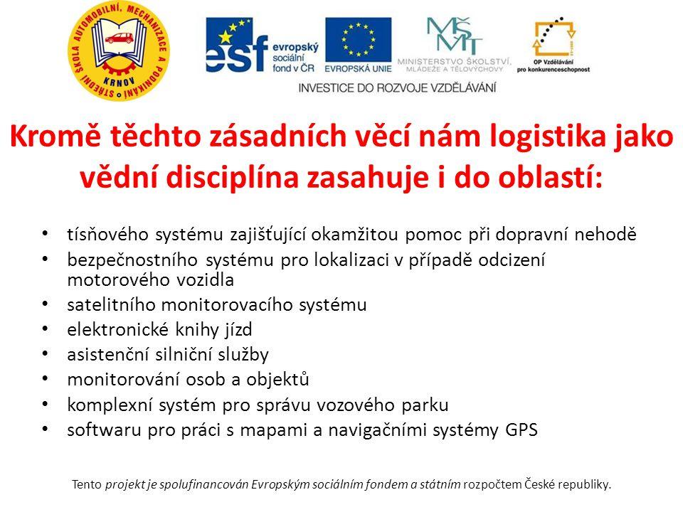 Kromě těchto zásadních věcí nám logistika jako vědní disciplína zasahuje i do oblastí: