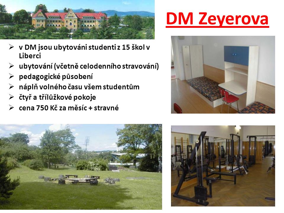 DM Zeyerova v DM jsou ubytováni studenti z 15 škol v Liberci
