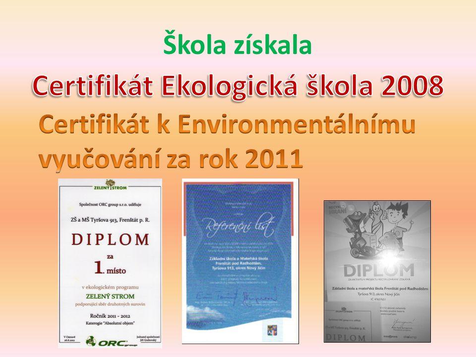 Certifikát Ekologická škola 2008