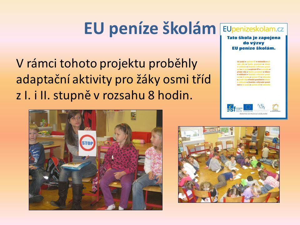 EU peníze školám V rámci tohoto projektu proběhly adaptační aktivity pro žáky osmi tříd z I.
