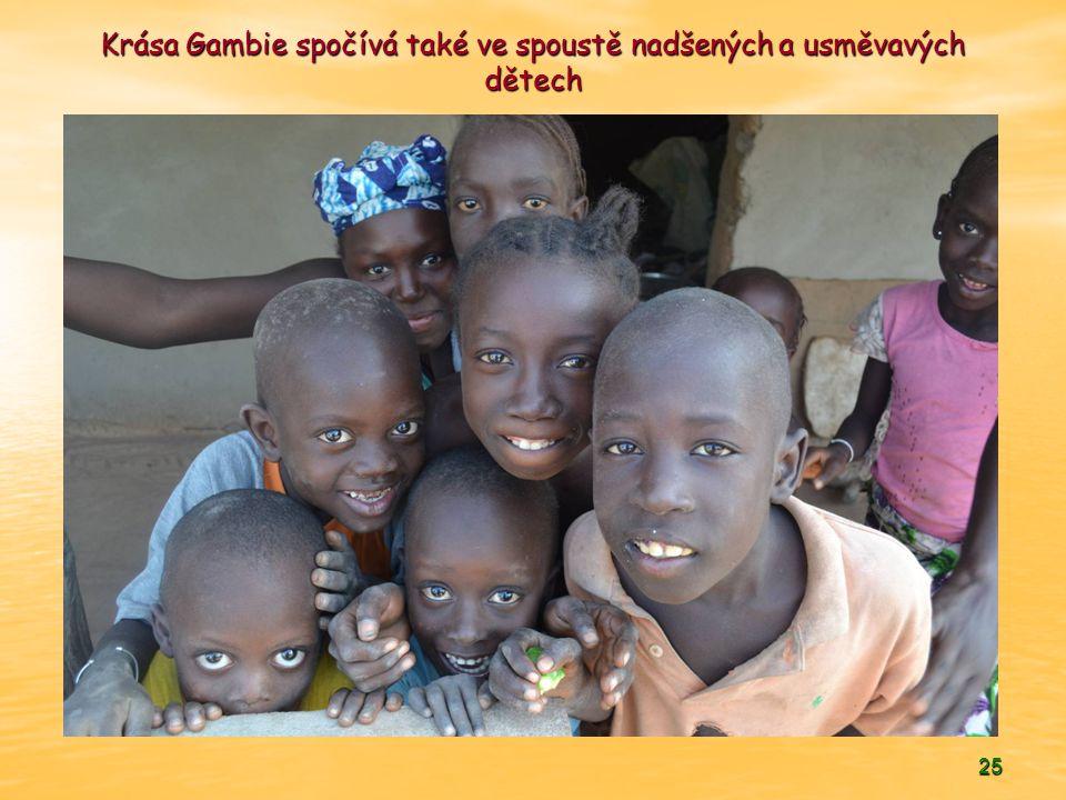Krása Gambie spočívá také ve spoustě nadšených a usměvavých dětech