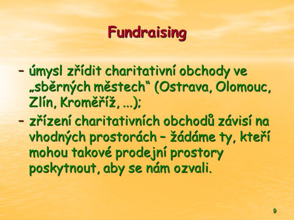 """Fundraising úmysl zřídit charitativní obchody ve """"sběrných městech (Ostrava, Olomouc, Zlín, Kroměříž, ...);"""