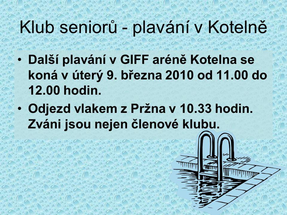 Klub seniorů - plavání v Kotelně
