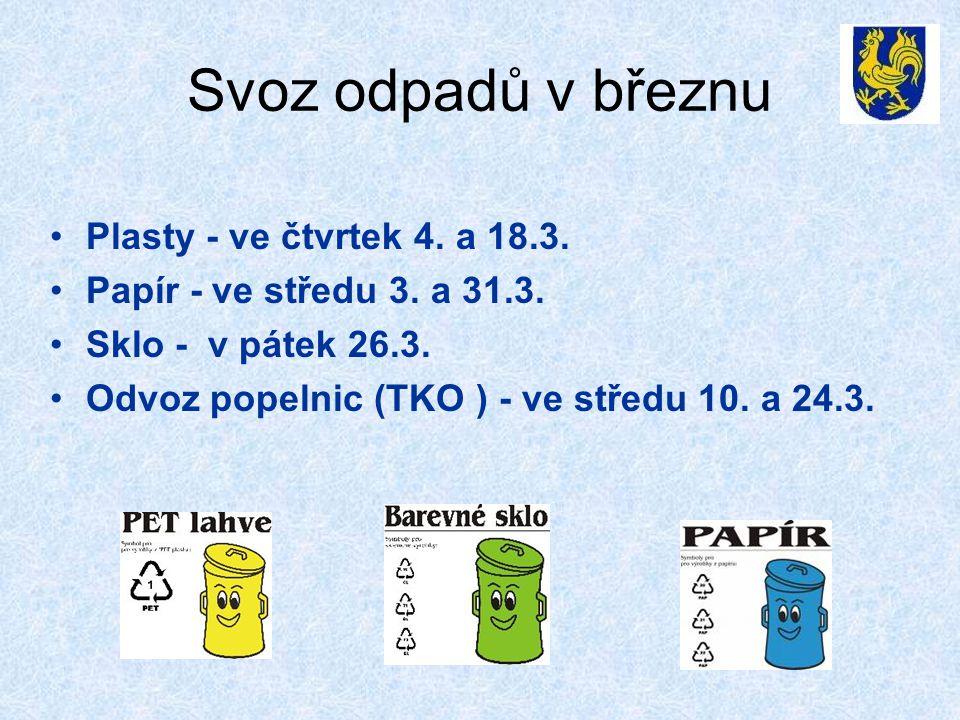 Svoz odpadů v březnu Plasty - ve čtvrtek 4. a 18.3.