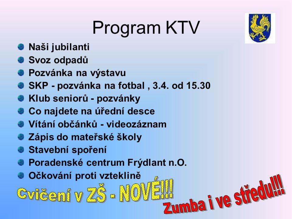 Program KTV Cvičení v ZŠ - NOVÉ!!! Zumba i ve středu!!! Naši jubilanti
