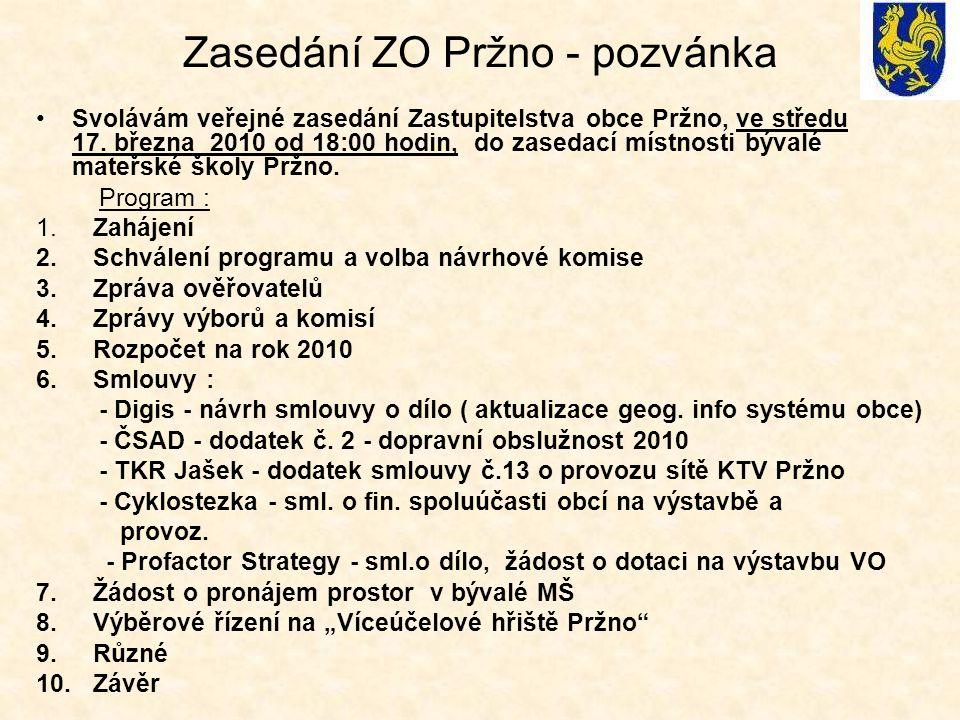 Zasedání ZO Pržno - pozvánka