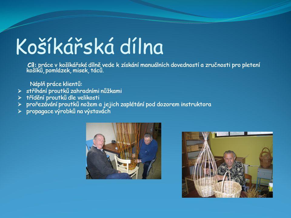Košíkářská dílna Cíl: práce v košíkářské dílně vede k získání manuálních dovedností a zručnosti pro pletení košíků, pomlázek, misek, táců.