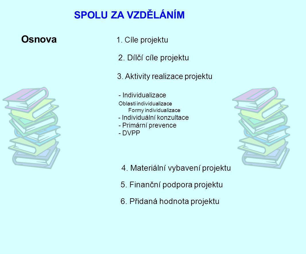 SPOLU ZA VZDĚLÁNÍM Osnova 2. Dílčí cíle projektu