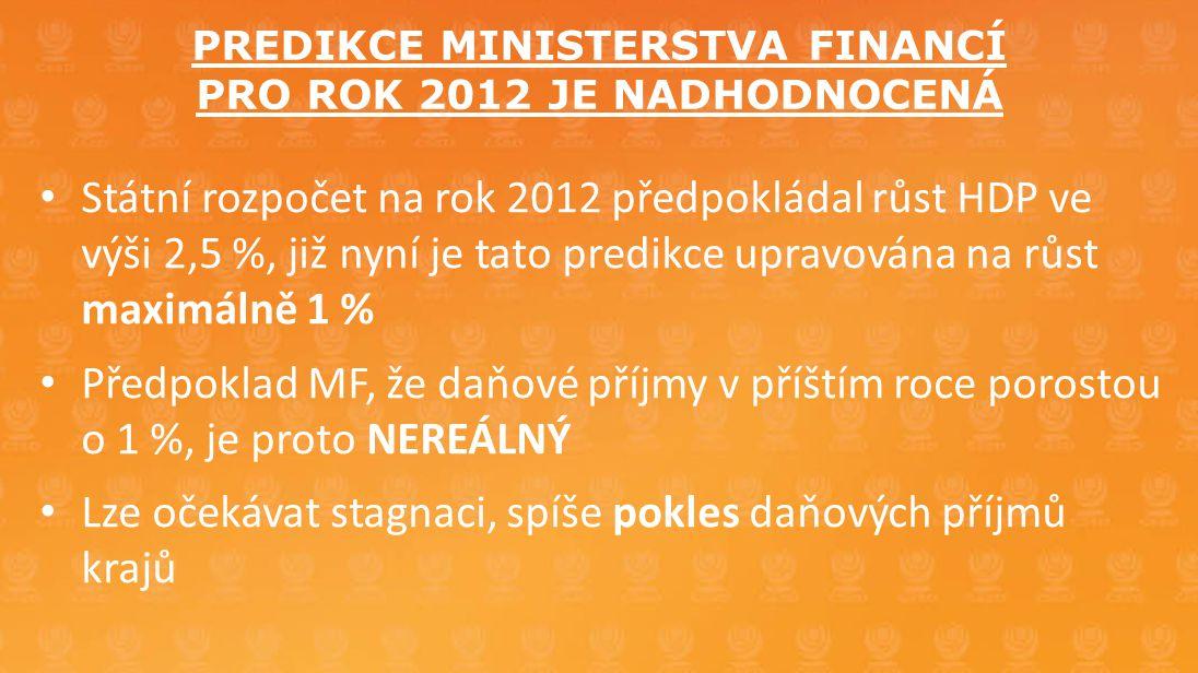 PREDIKCE MINISTERSTVA FINANCÍ PRO ROK 2012 JE NADHODNOCENÁ