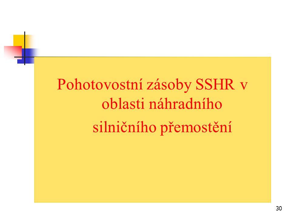 Pohotovostní zásoby SSHR v oblasti náhradního silničního přemostění