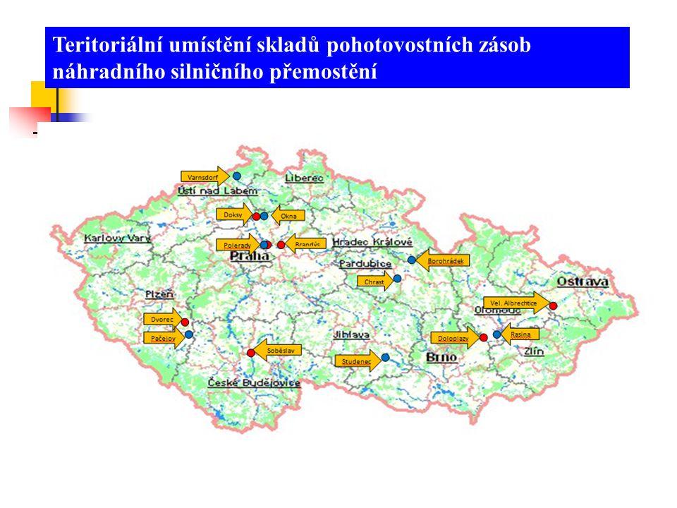 Teritoriální umístění skladů pohotovostních zásob náhradního silničního přemostění
