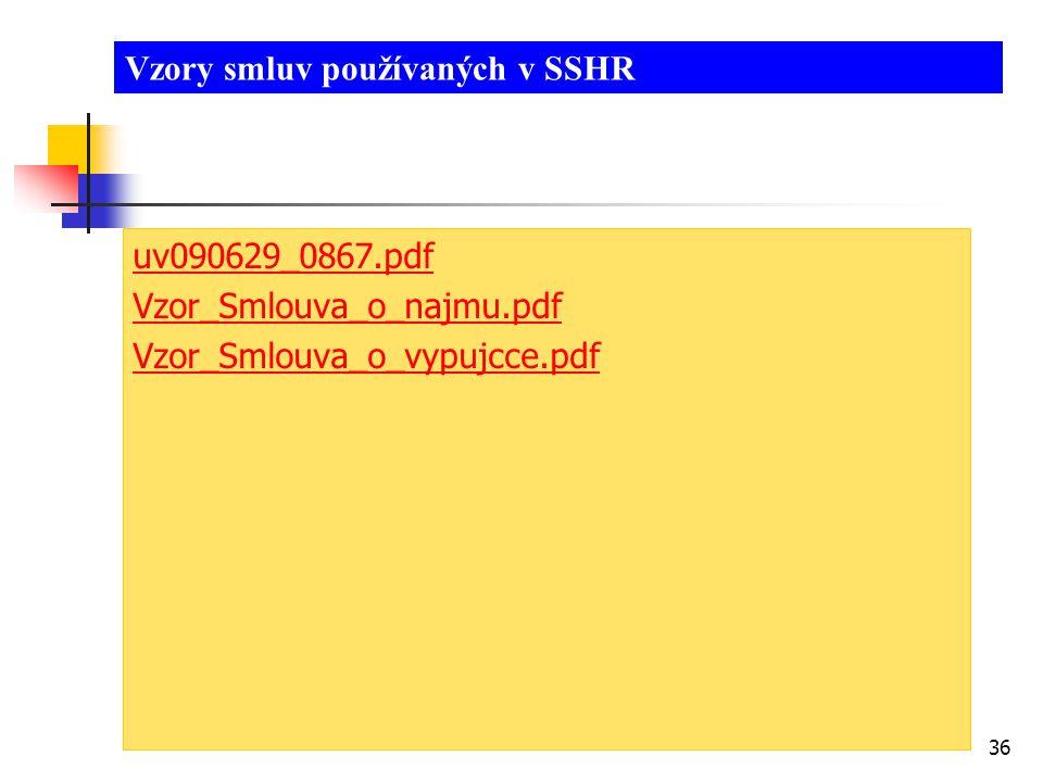 Vzory smluv používaných v SSHR