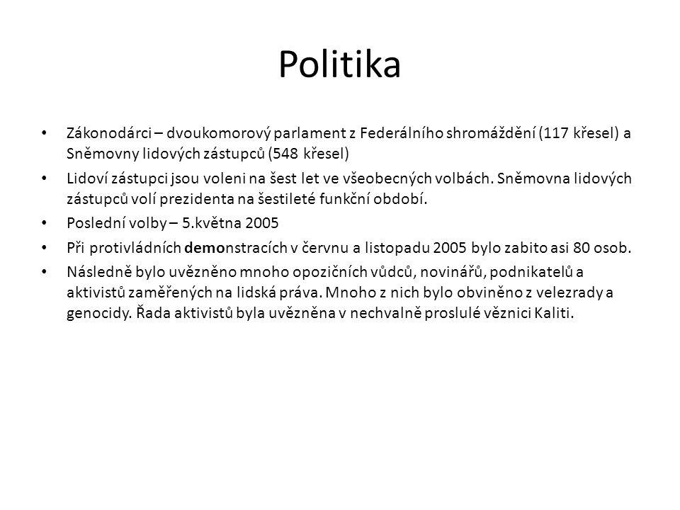 Politika Zákonodárci – dvoukomorový parlament z Federálního shromáždění (117 křesel) a Sněmovny lidových zástupců (548 křesel)
