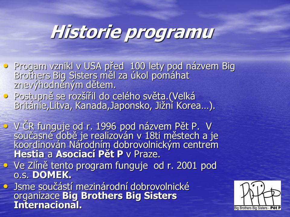 Historie programu Progam vznikl v USA před 100 lety pod názvem Big Brothers Big Sisters měl za úkol pomáhat znevýhodněným dětem.