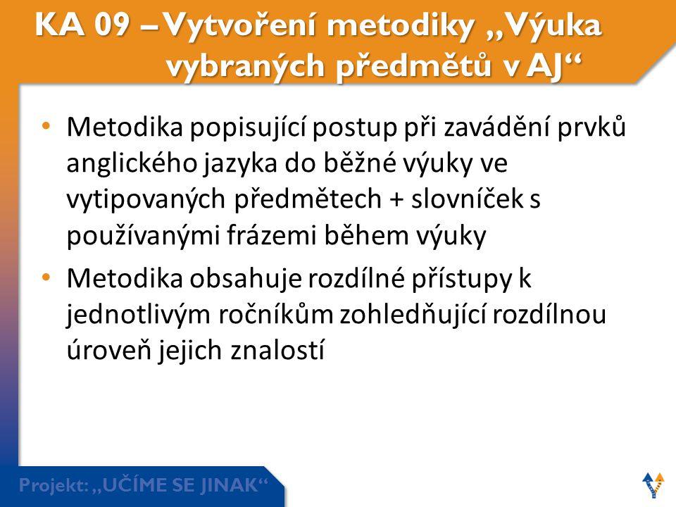 """KA 09 – Vytvoření metodiky """"Výuka vybraných předmětů v AJ"""