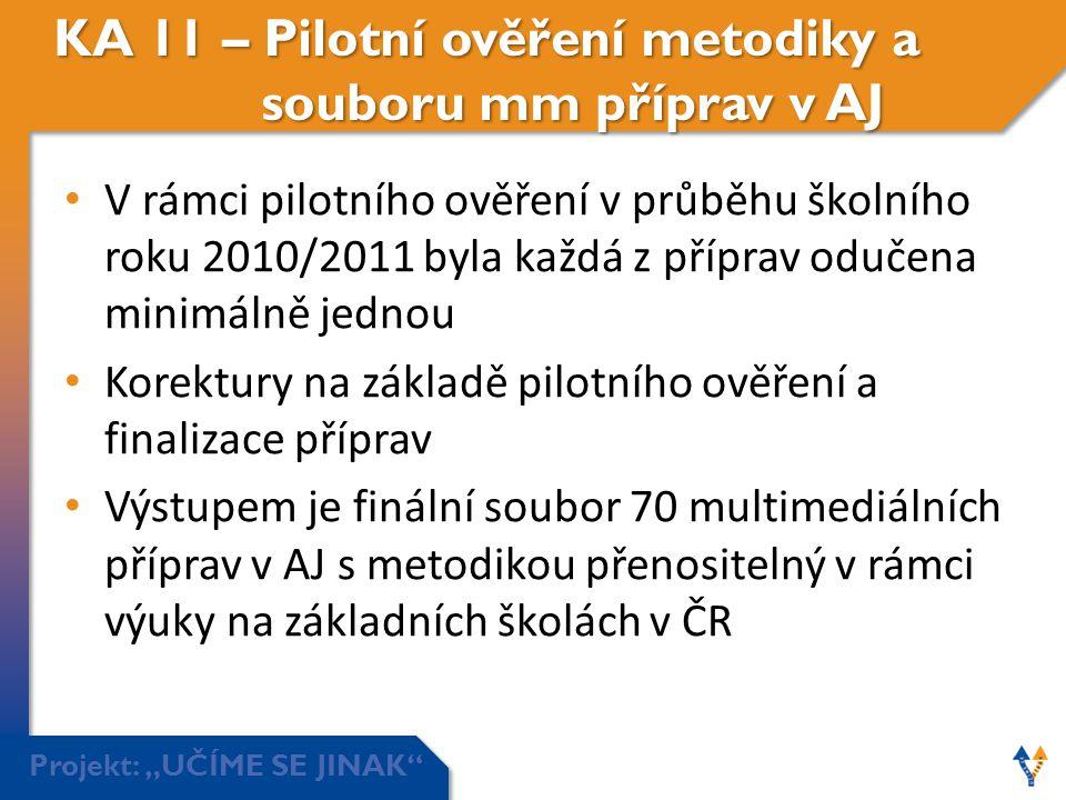 KA 11 – Pilotní ověření metodiky a souboru mm příprav v AJ