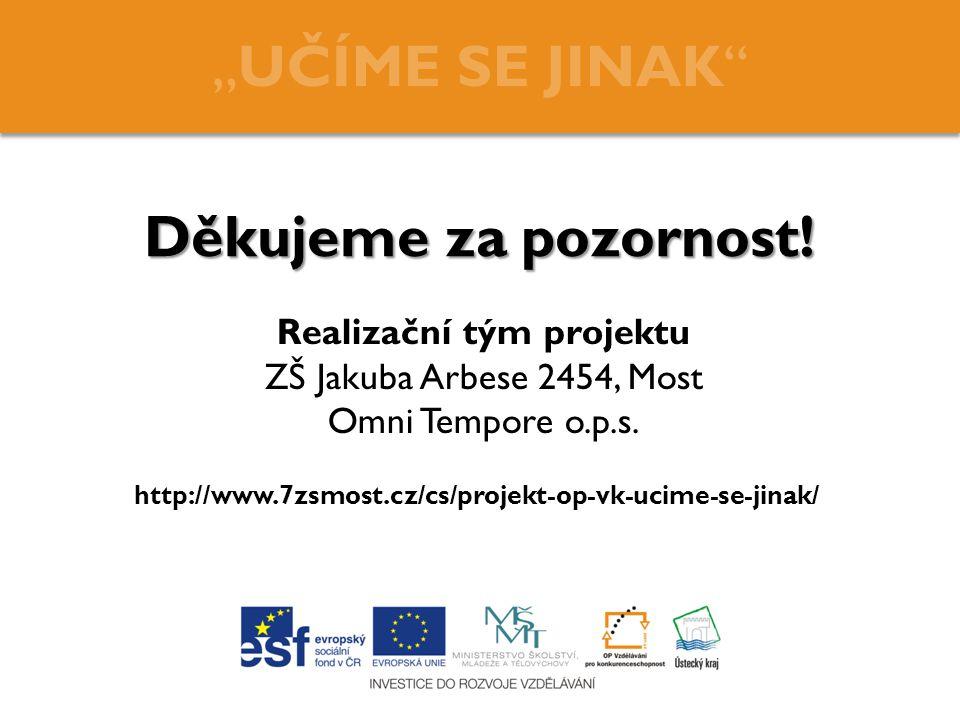 Realizační tým projektu ZŠ Jakuba Arbese 2454, Most Omni Tempore o. p
