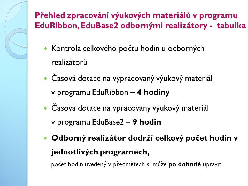 Přehled zpracování výukových materiálů v programu EduRibbon, EduBase2 odbornými realizátory - tabulka