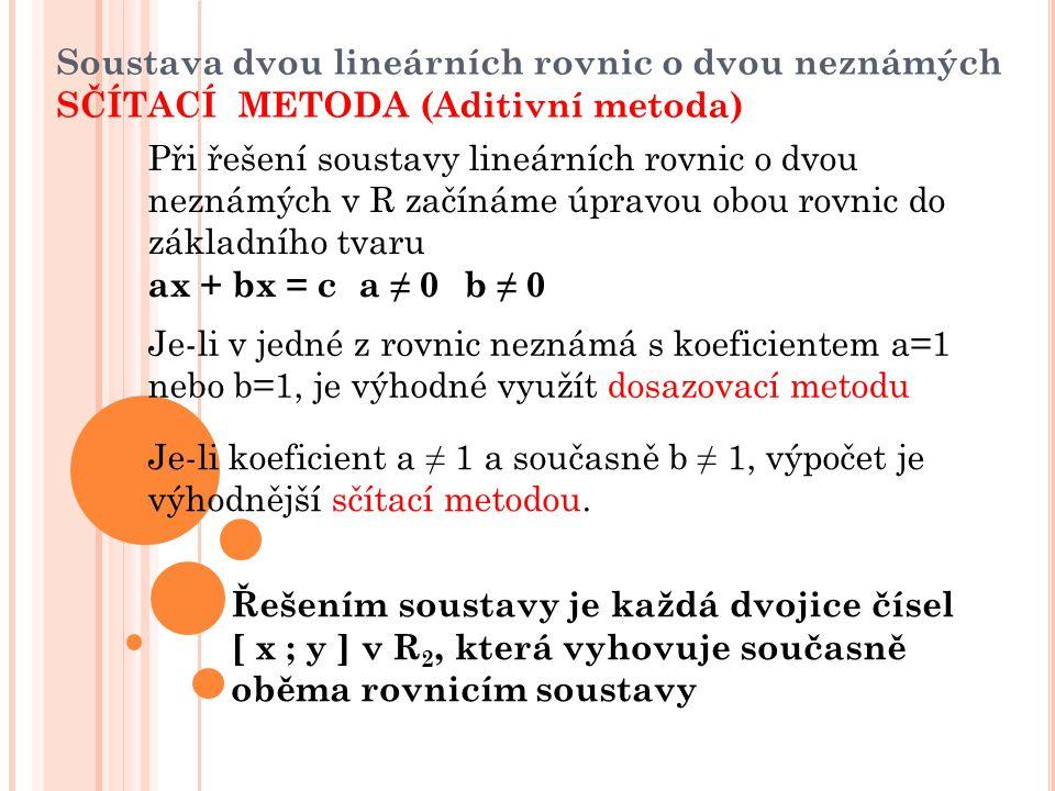 Soustava dvou lineárních rovnic o dvou neznámých SČÍTACÍ METODA (Aditivní metoda)
